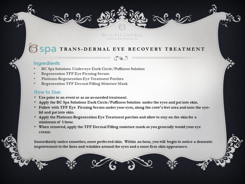 Trans-dermal eye recovery treatment
