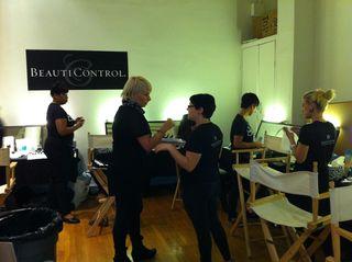 Backstage makeup team
