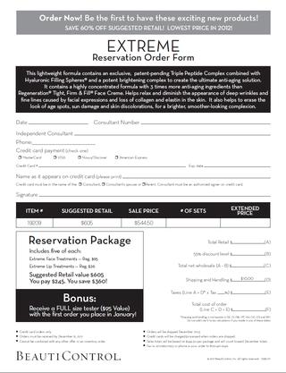 Extreme Reservation Order Form