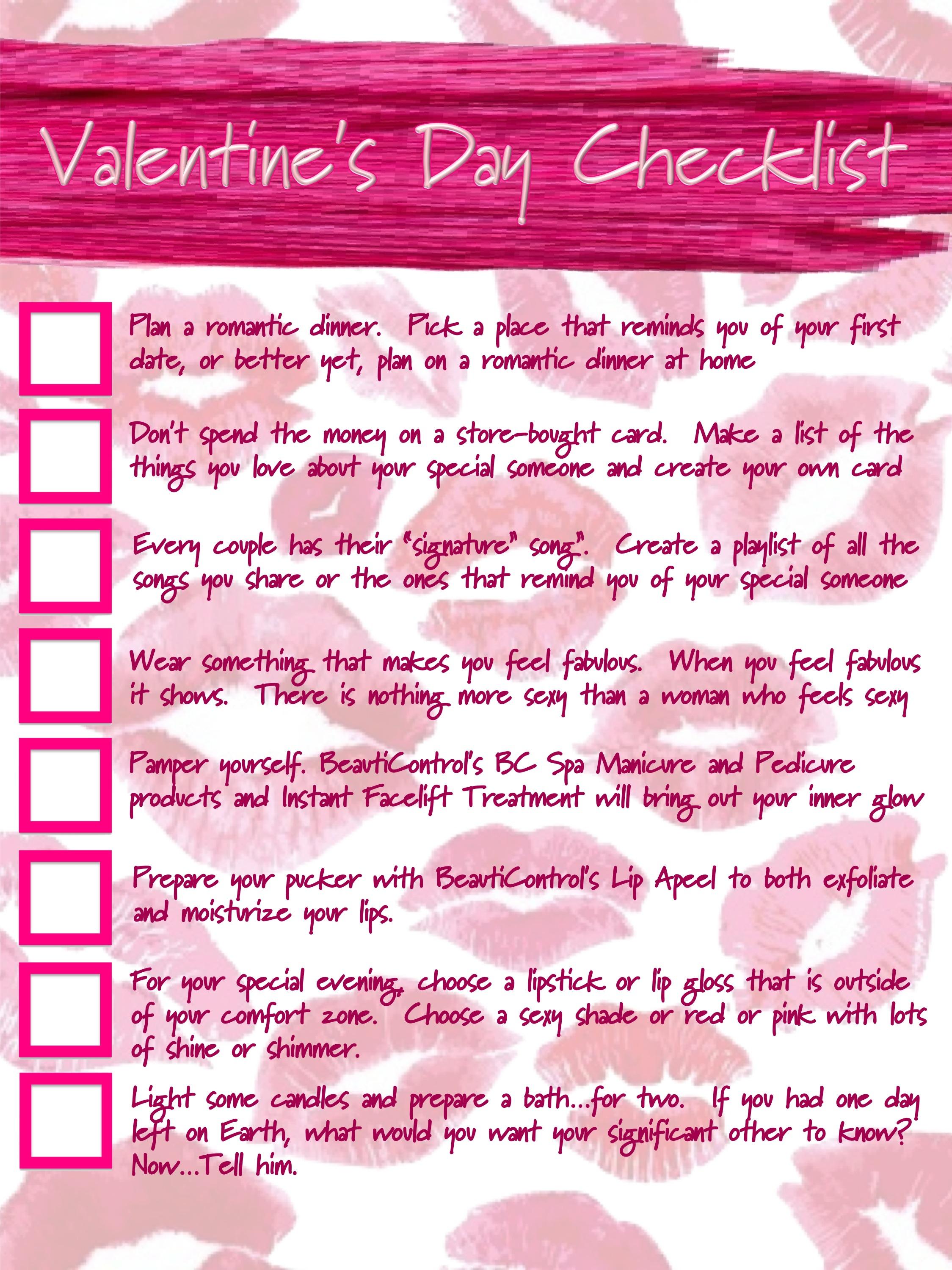 Gary\'s Blog: BeautiCoach: Valentine\'s Day Check List